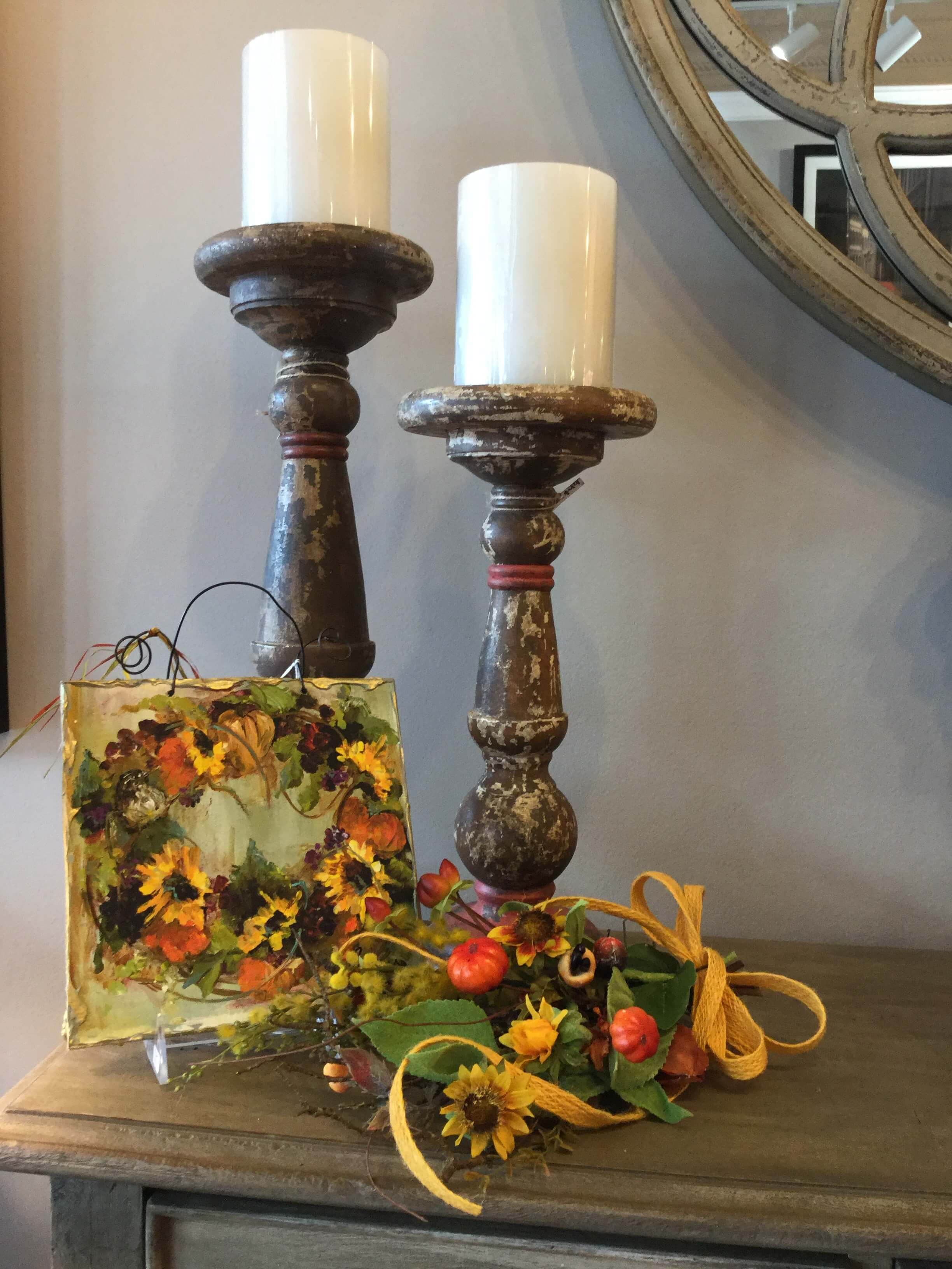 Fall Vignette With Rustic Wooden Candle Holders Ps Flowers And