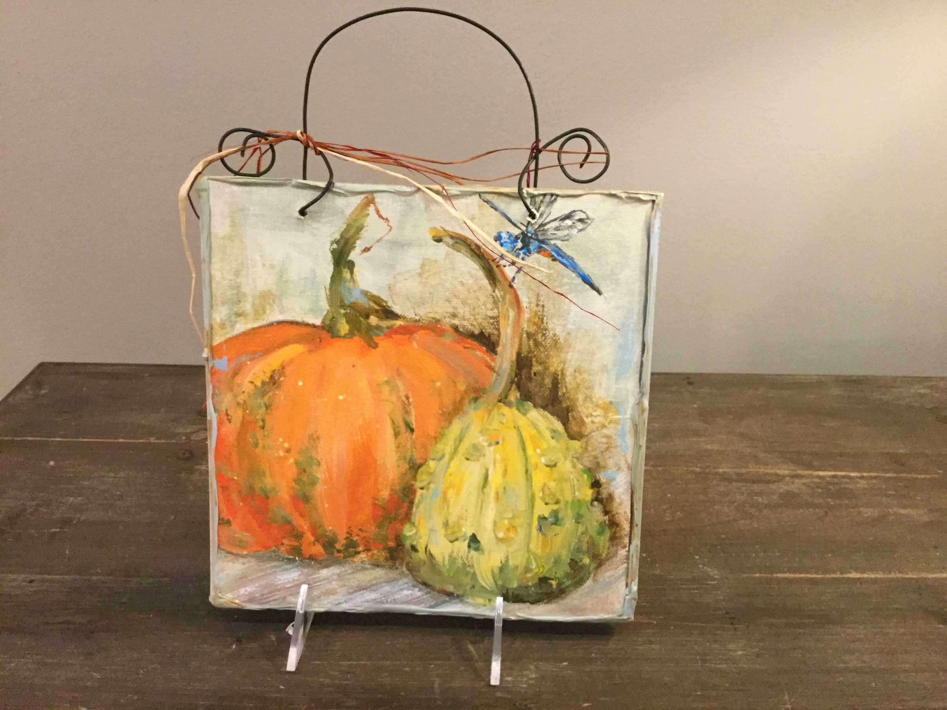 pumpkin and gourd with dragonfly art p s flowers and interiors