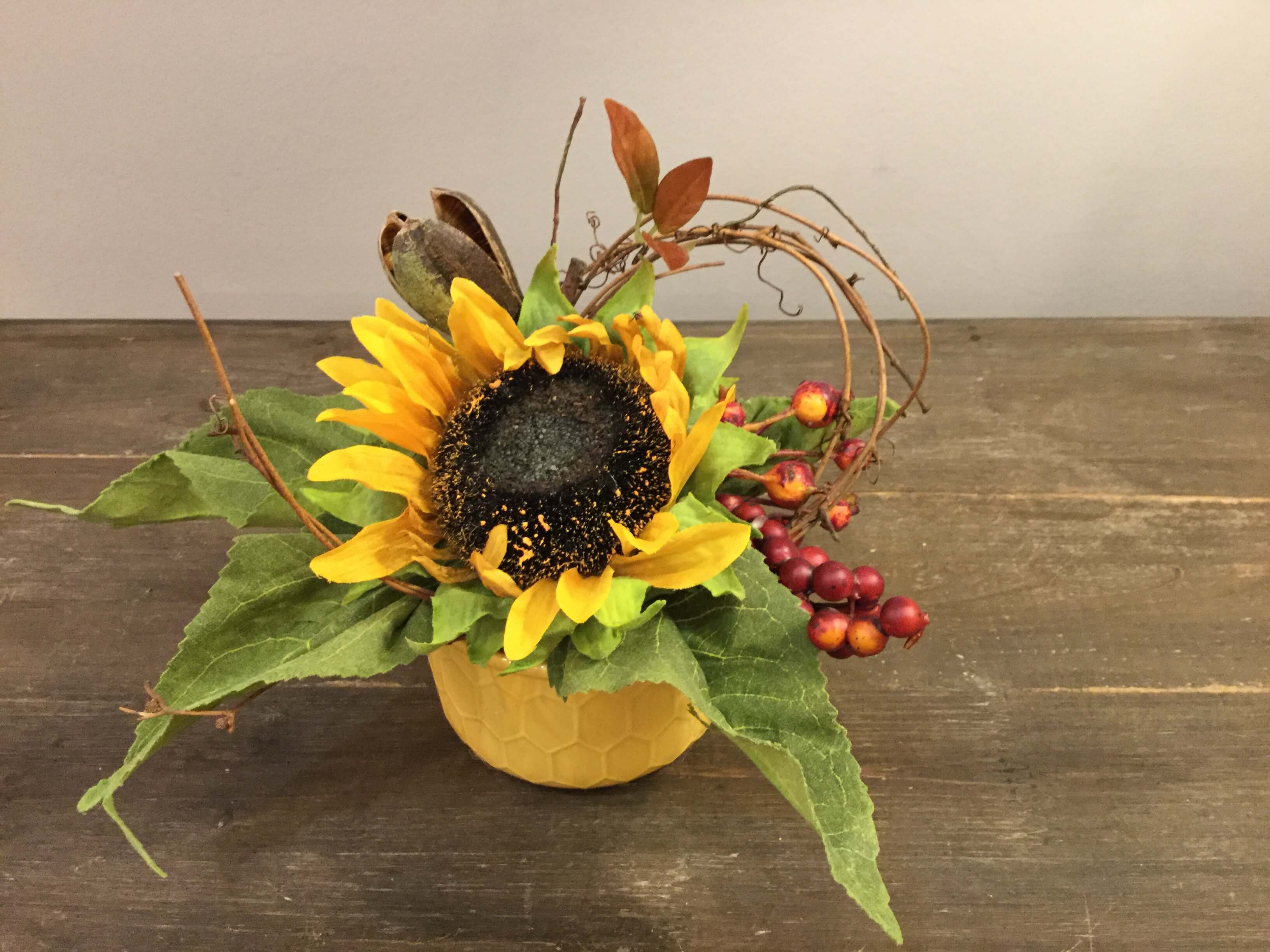 Sunflower In Yellow Pot With Berry Pod Vine Ps Flowers And
