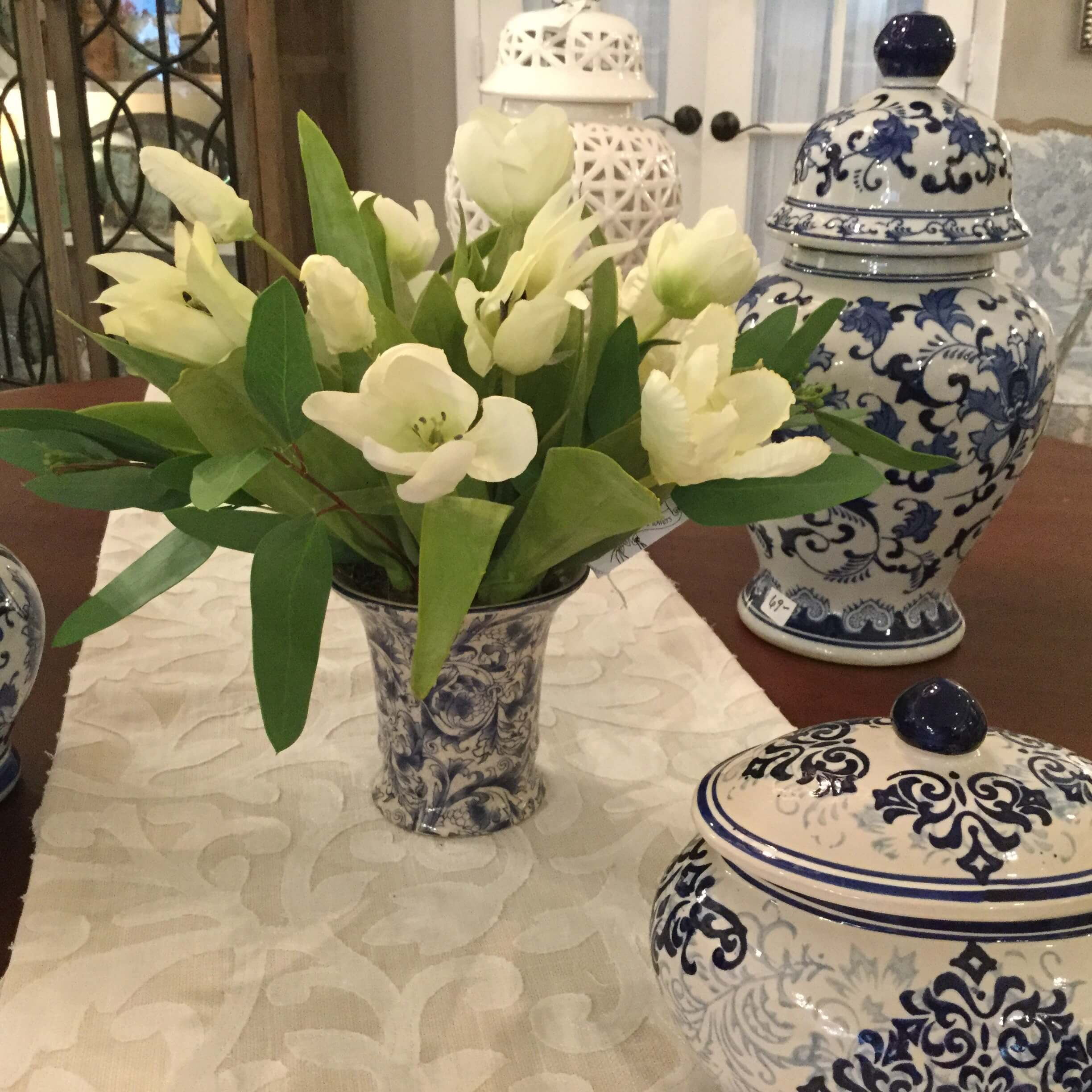 White Tulips in Blue \u0026 White Ceramic Vase & White Tulips in Blue \u0026 White Ceramic Vase - P.S. Flowers and Interiors